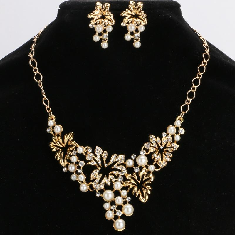 European and American fashion silver full diamond pearl necklace