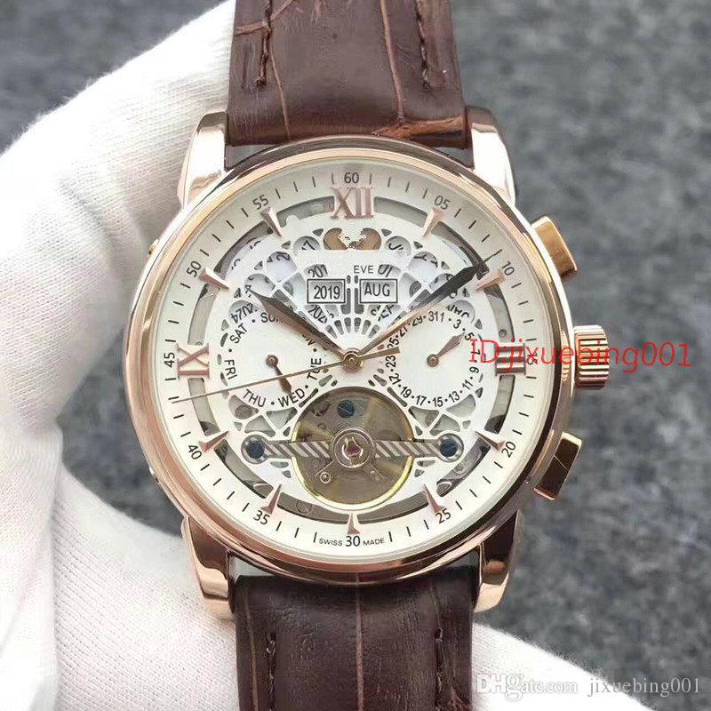 Aço inoxidável de homens mecânicos de alta qualidade New Brown Leather relógio automático Sports Mens Relógios Self-vento turbilhão de pulso masculino