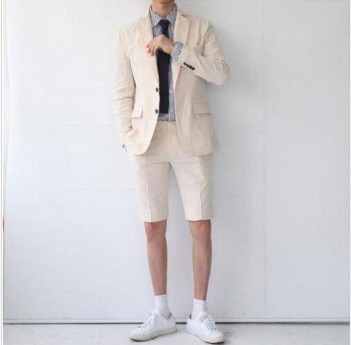 Custom Linen Men Wedding Suits 2018 Khaki Men Suit with Short Pants Summer Wear Suits Tuxedo Best Male Blazer Sets 2 Pieces Jacket+Pants