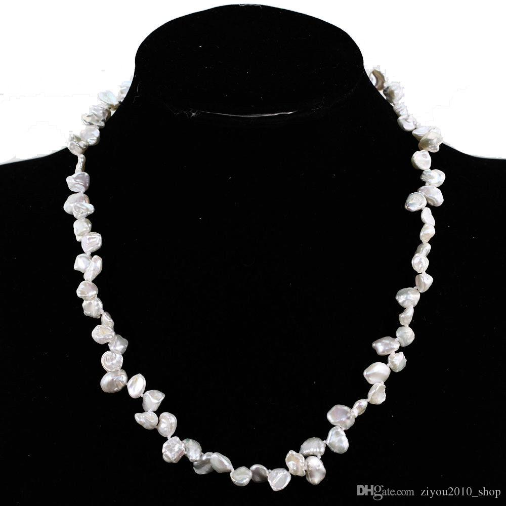 Collar de perlas cultivadas de agua dulce barrocas blanco natural de los 45cm hecho a mano 7-8mm