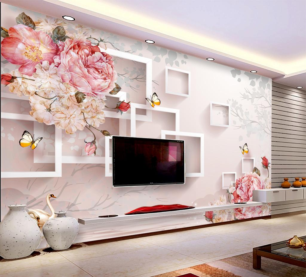 Customized Retail Mood For Love Romantic Floral Background Wall