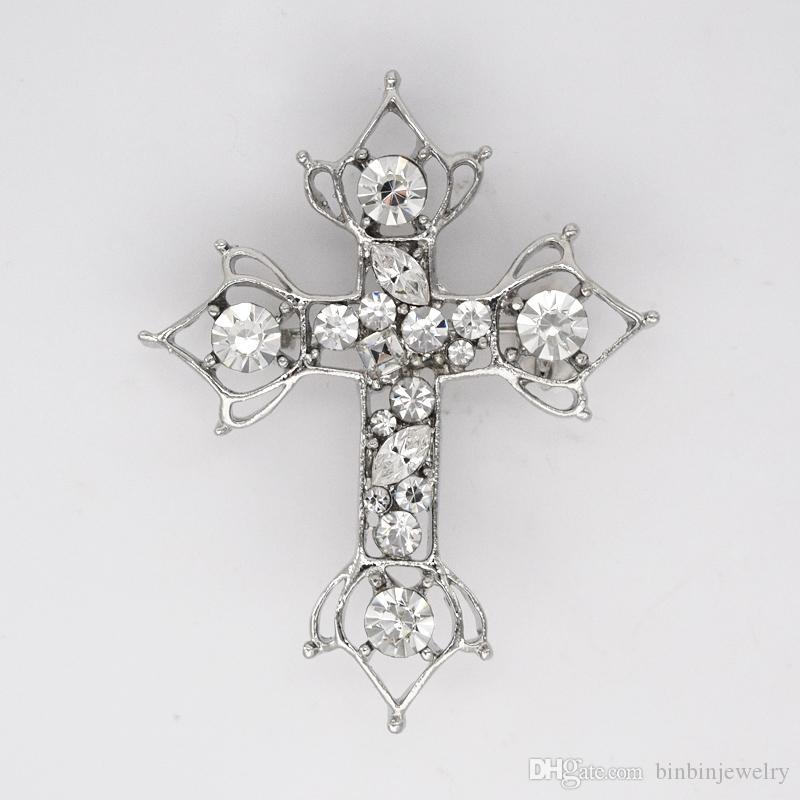 12pcs/lot Wholesale Marquise Crystal Rhinestone Cross Brooches Fashion Costume Pin Brooch & Pendant C379