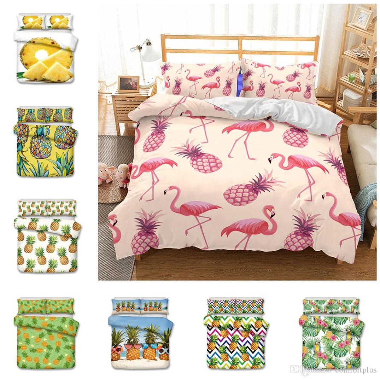 King //Queen //Twin Size Pineapple Print Bedding Set Duvet Cover Quilt Pillowcase