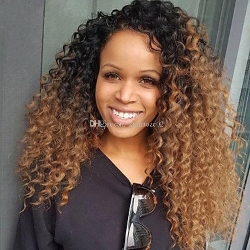 new arrival Kinky Curly 150% density two tone color human hair wig #1bT30 ombre lace front wig virgin brazilian full lace wig