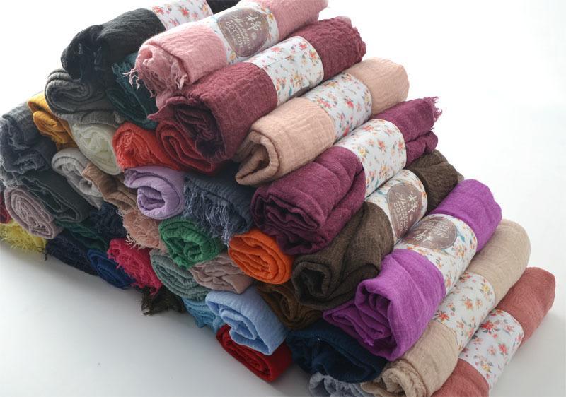Crinkle Plain Wrinkle Wrap,bubble cotton muslim hijab,Soft Islam scarf,Viscose Maxi crinkle scarves,solid scarf,Head Hijab shawl S18101307