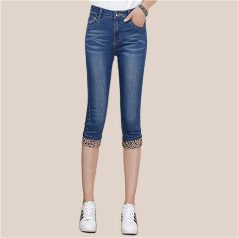 759b72daa50cd7 Europe US New Fashion lady Preppy Style casual Cropped Jeans Cute blue  girls Cotton Denim High waist Pockets Slim Knee length Capri Pants