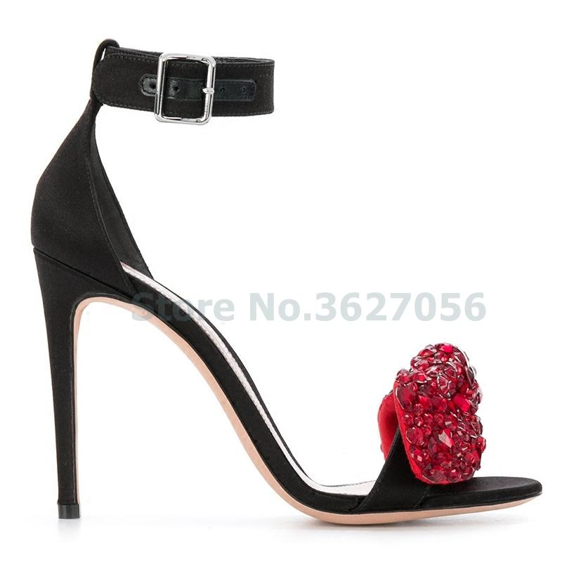 Bling bling cristal papillon-noeud en daim mince hauts talons sandales cheville-wrap nubuck noir rouge saphir bleu rose chaussures