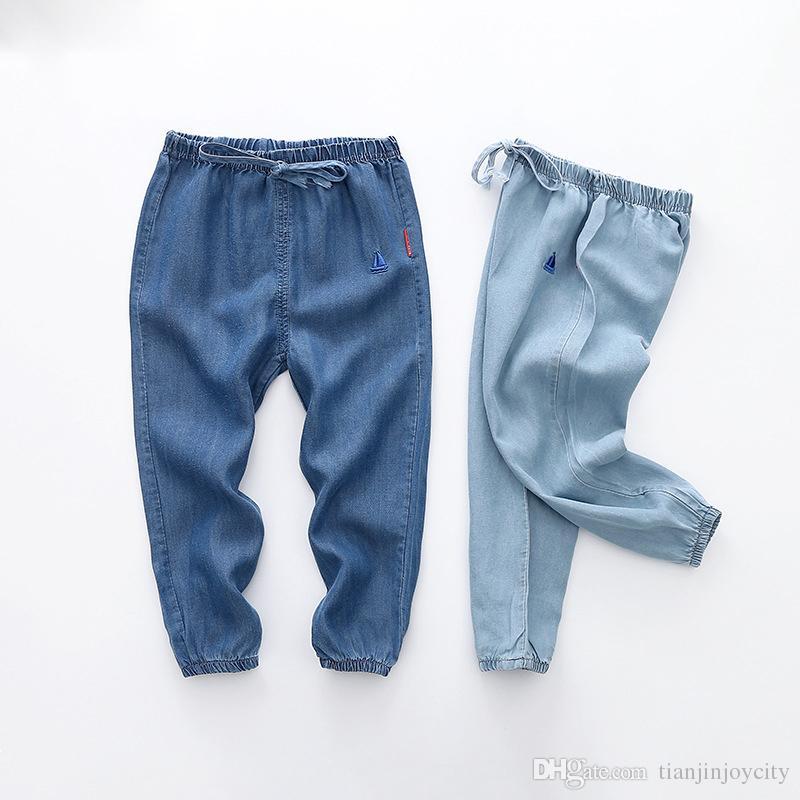 Primavera autunno bambini pantaloni a vita alta jeans sottili per neonati pantaloni gamba larga per bambini pantaloni larghi per bambini 2-8T
