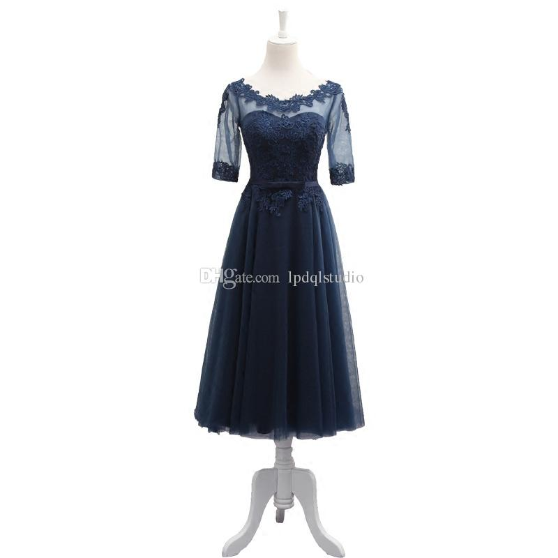 Dark Navy Tea Length mother of the bride dresses Half Sleeves Sheer with Applique Pleats TUlle Mother of The Bride Dresses
