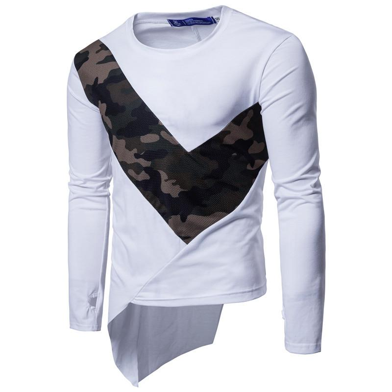 Camisetas para hombres Hombres 2021 Homme Marca de manga larga Slim Fit Tshirt Camuflaje Camiseta Camiseta Casual Streetwear Tee Hip Hop Tops Tamaño grande