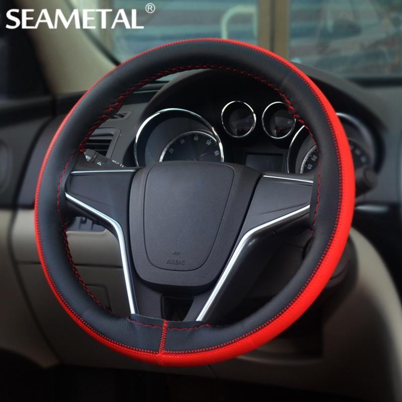 Cubierta del volante del coche cuero micro fibra 38 cm diy cubre volante universal agujas hilo de coche cubre auto accesorios