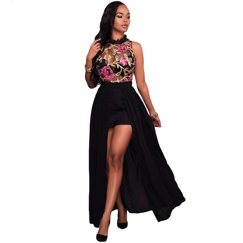 Mulheres Elegante Macacão Longo Macacão 2018 Nova Moda Sexy Sheer Malha Bordado Bodysuits Verão Chiffon Partido Romper das Mulheres