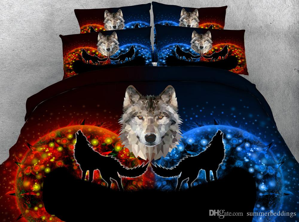 3D galaxy deer Duvet Cover Animal Bedding Sets Bedspreads Holiday Quilt Covers Bed Linen Pillow Cover cat floral dog wolves elk bird flowers