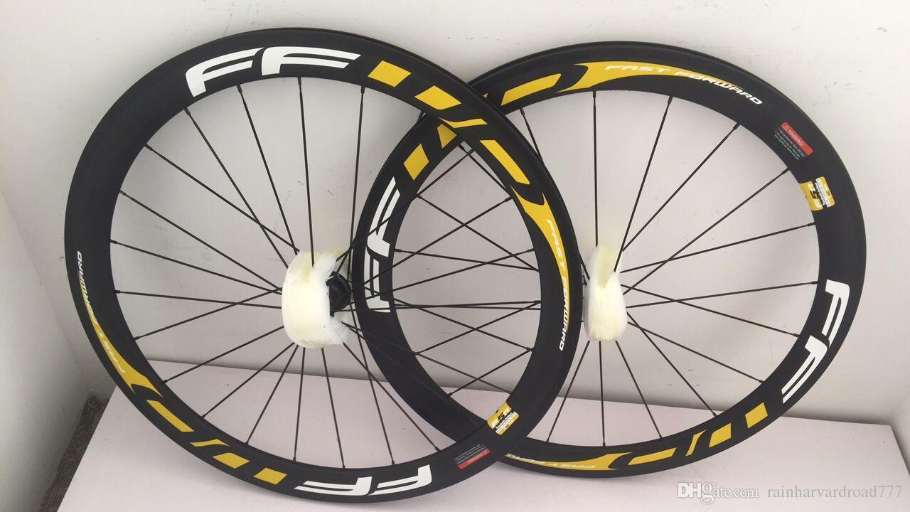3k clincher 50mm 빨리 감기 F6R 자전거 바퀴 흰색 노랑 데칼 탄소 자전거 바퀴 ffwd f6r 23mm 너비와 파워 웨이브 허브 바퀴