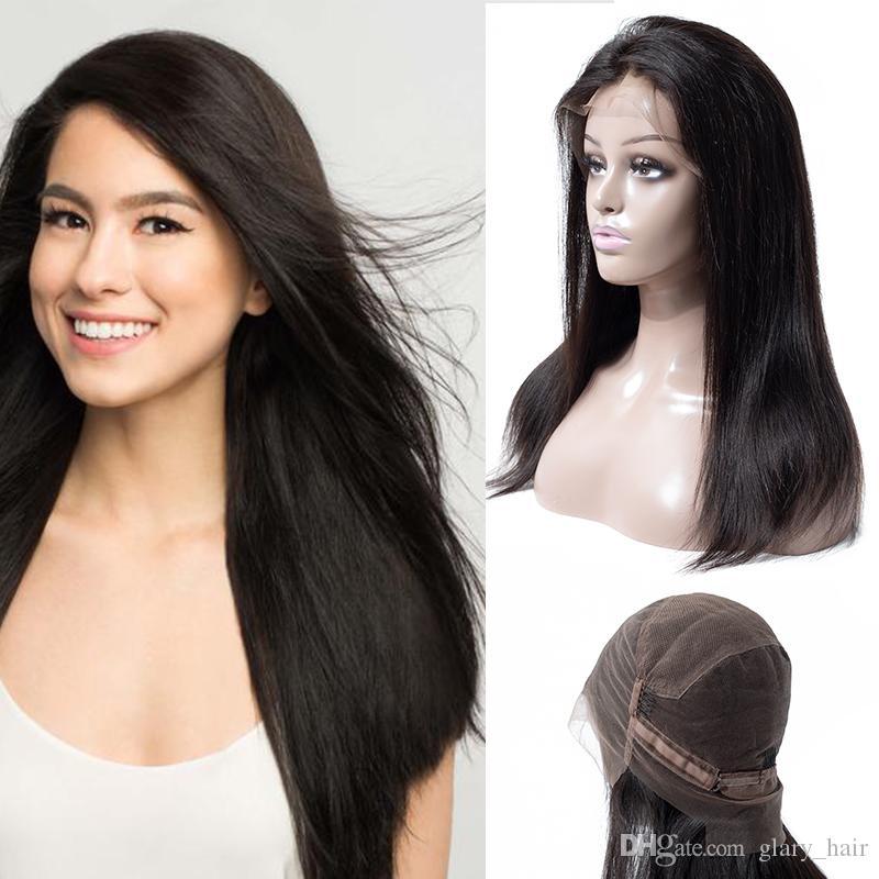 Wholesale Brazilian Full Lace Human Hair Wigs Indian Brazilian Straight Full Lace Wigs Heat Resistant 360 full lace human hair wigs