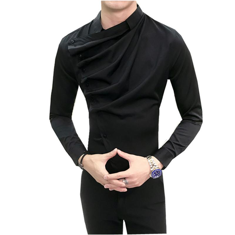 Hombre Vestir Vestido 2018 Casual Slim Fit Mens Chemise Homme Men Sólidos malha Heren Hemden vestido de festa do clube DJ Cantor Shirts