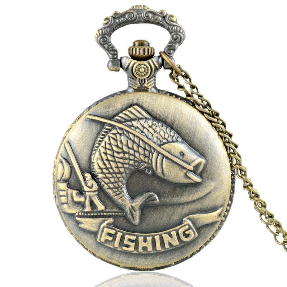 Classic Vintage Bronze Fishing Quartz Pocket Watch Retro Men Women Necklace Pendant Jewelry Gifts fashion pocket