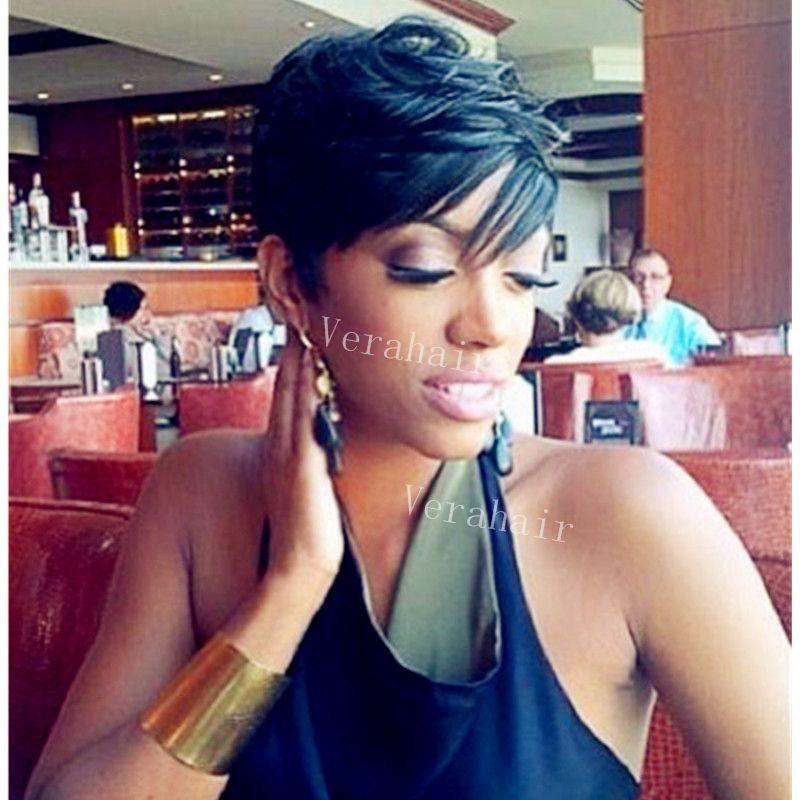 Venda quente Rihanna penteado perucas curtas brasileiro curto cabelo liso corte humano cabelo duende peruca de cabelo humano perucas para mulheres afro-americanas