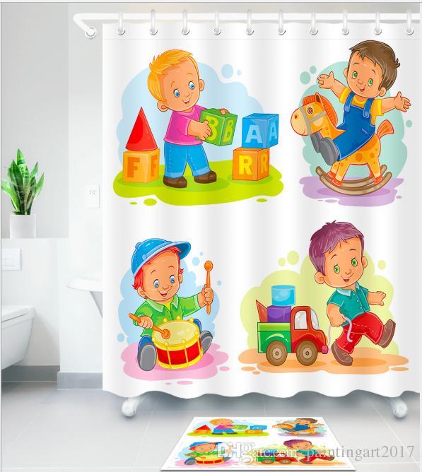 Children's gift 3D new cartoon style Design Print Pattern Irish Decorations Waterproof Bathroom Decor Fabric Shower Curtains Floor mats sets
