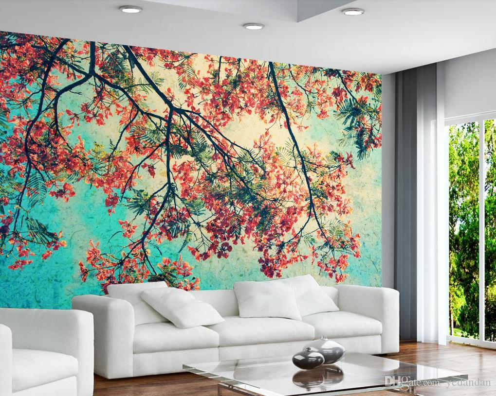 fondo de pantalla personalizado 3d estereoscópica flor del pavo real rama dormitorio sala de estar TV telón de fondo de pantalla para paredes 3d foto fondo de pantalla