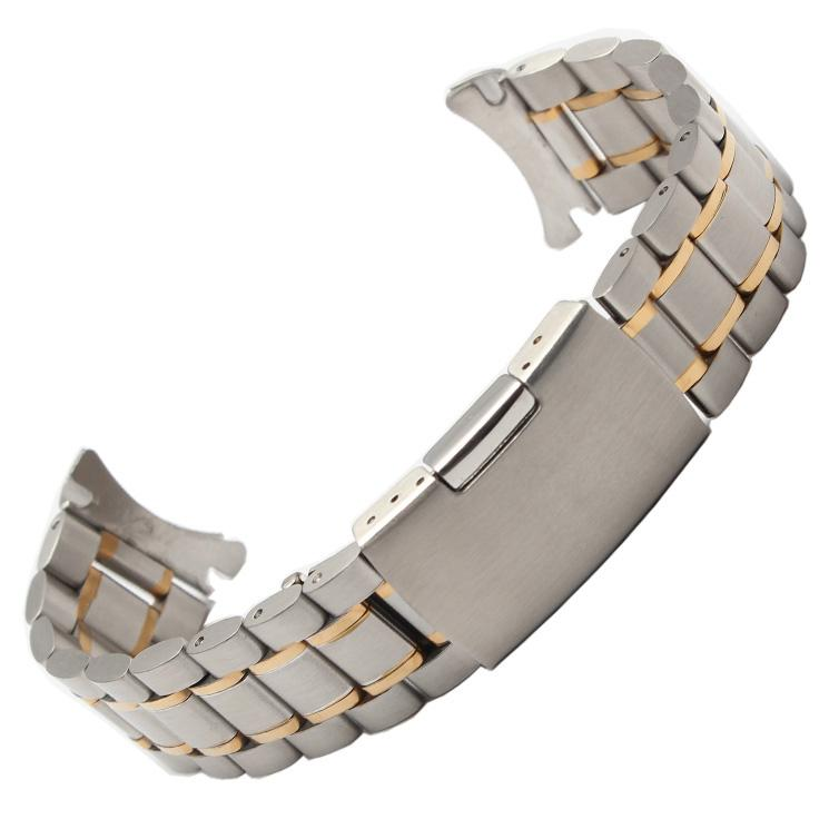 2016 New 18mm 20mm 22mm 24mm silver and gold men metal band watch stainless steel bracelets curved end