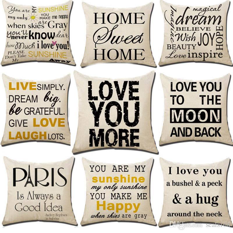 Letter You are My Sunshine I Love You Pillow Case Cushion Cover Linen Throw Pillowcases Sofa Pillow Covers Xmas Gifts 18*18 Inch HH7-1392