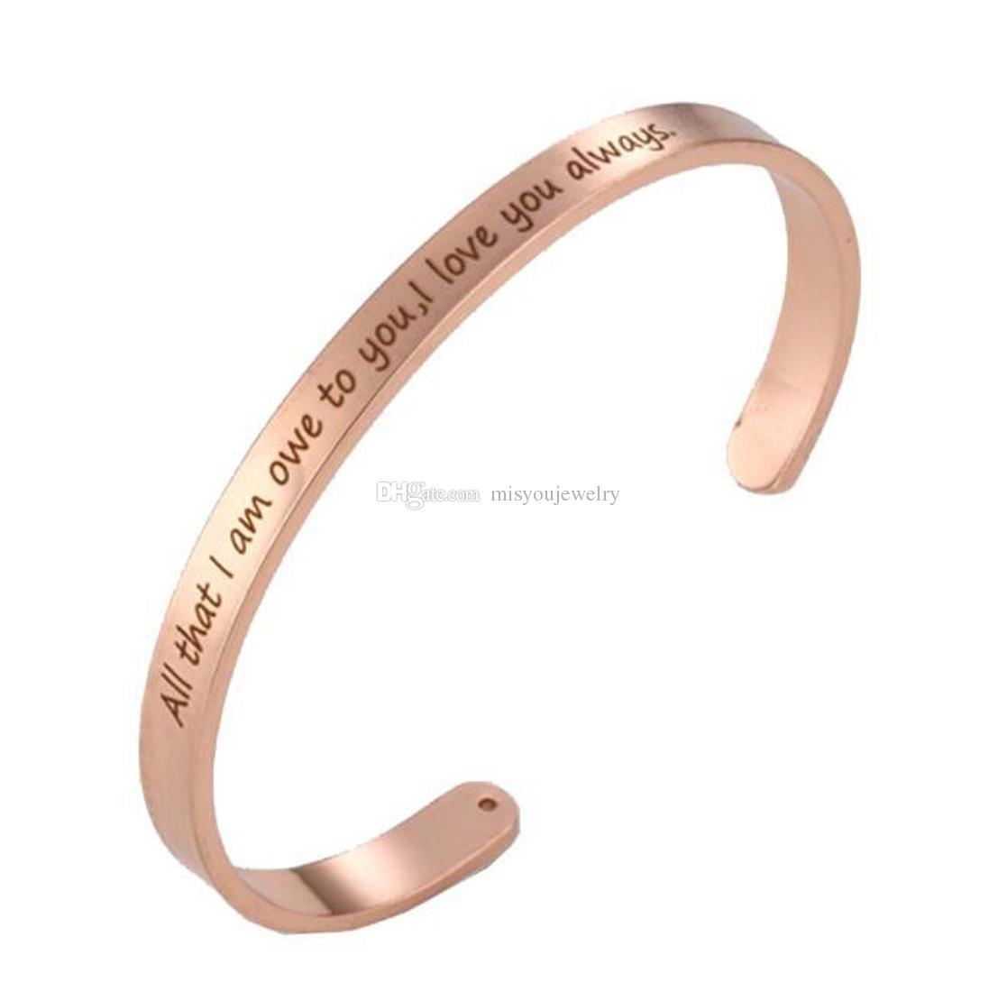 três cores pulseira Gravura grátis Inspiração Tudo o que eu devo a você, eu te amo sempre cuff pulseira