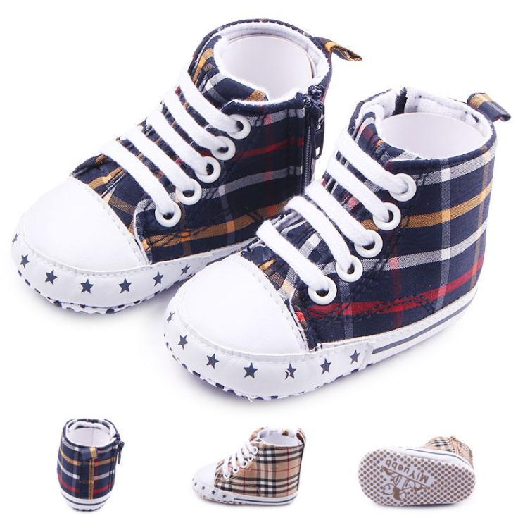 Baby Girl Boy Plaid Shoes Toddler Prewalker Soft Bottom Grip shoes Infant One Side Zipper Shoes Boots
