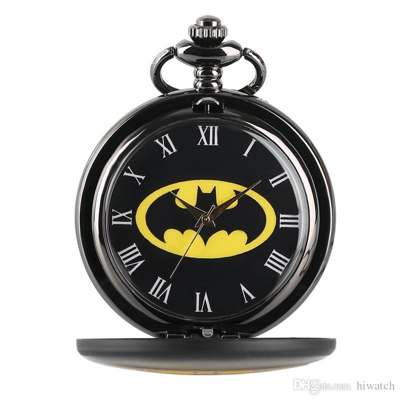 Melhores Presentes para Crianças Kid Boy Legal Batman Logotipo Analógico Relógio De Bolso De Quartzo Relógio Masculino Colar de Pingente