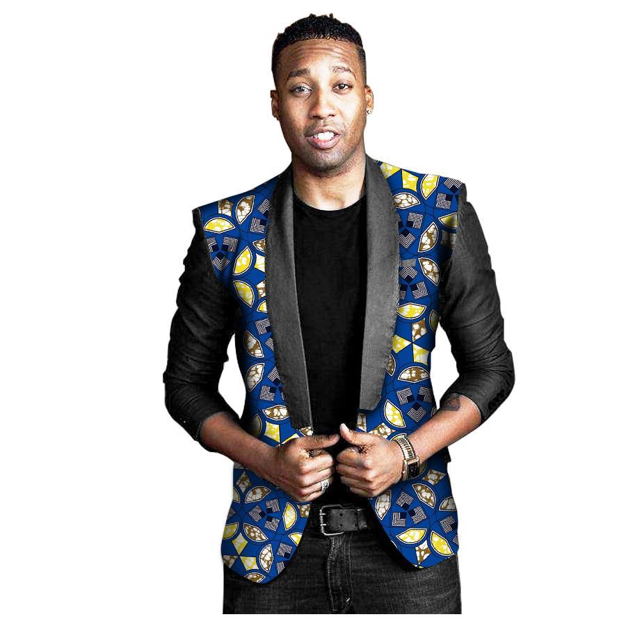 Acheter African Print Men Noir Manches Longues Manteau Afrique Dashiki Festives Blazers Personnaliser Costume Homme Africain Costume Veste De $68.37