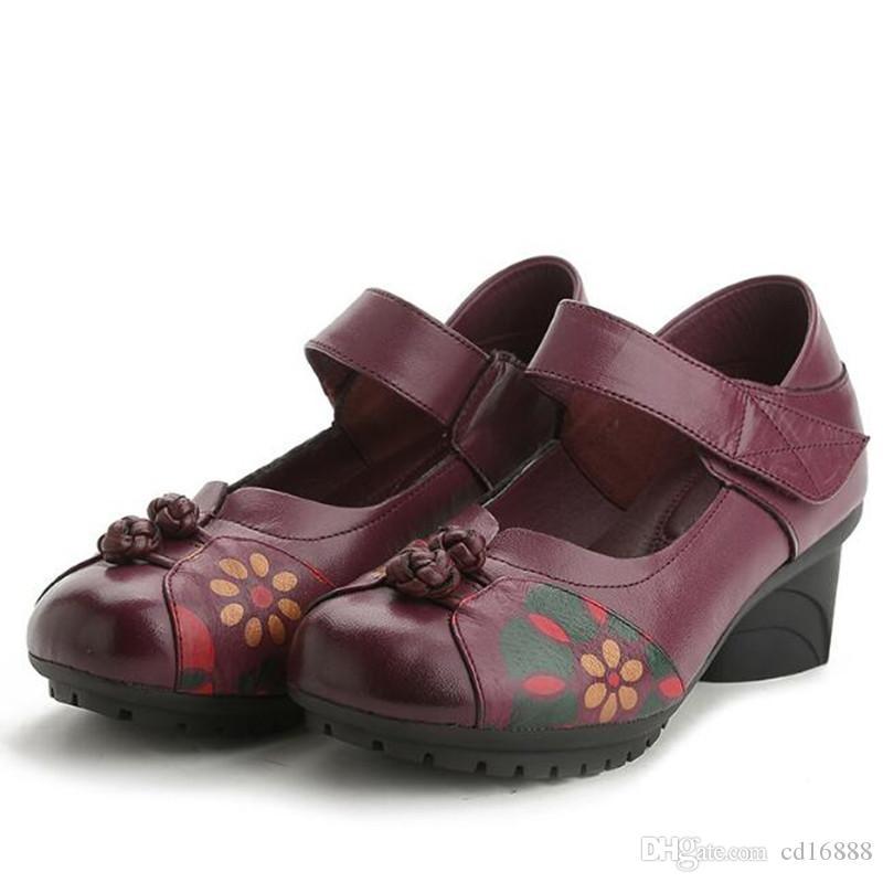 Оптовая и розничная 2018 Весна заклинание цвета печати натуральная кожа обувь женщина туфли на высоком каблуке женская мода обувь свадебные туфли на высоком каблуке