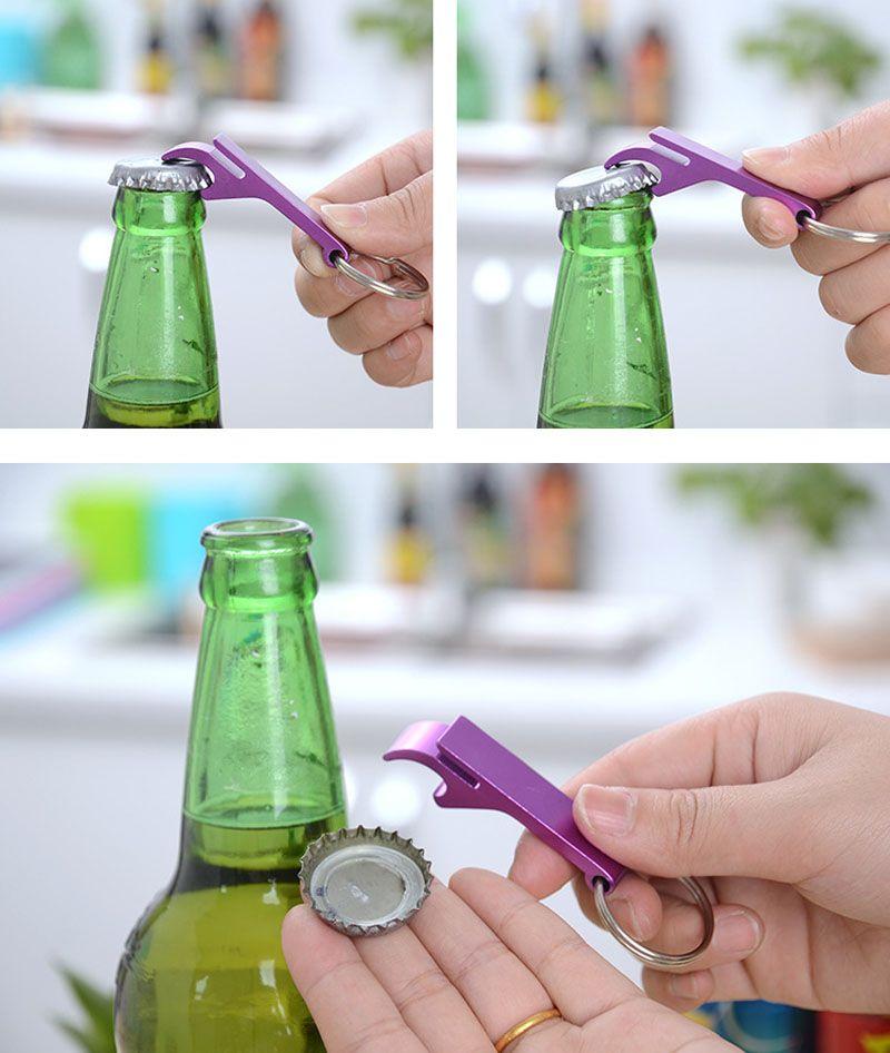 Mini Beer Bottle Opener with KeyChains metal aluminum alloy multi color laser engraving technology for Gear Beverage bottle