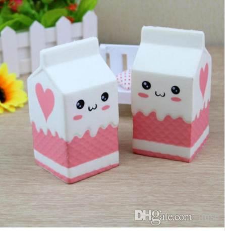 11.5 cm Squishy Leche Caja Caja Crecimiento lento Pan lindo Apretón Estrés Estiramiento Squishes PU Juguetes Regalo para niños Blanco Rosa Envío gratis