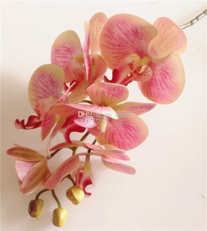 진짜 접촉 난초 꽃 가짜 분홍색 Cymbidium PU 3D 식물 난초 Phalaenopsis 난초 인공적인 장식적인 꽃을 % s