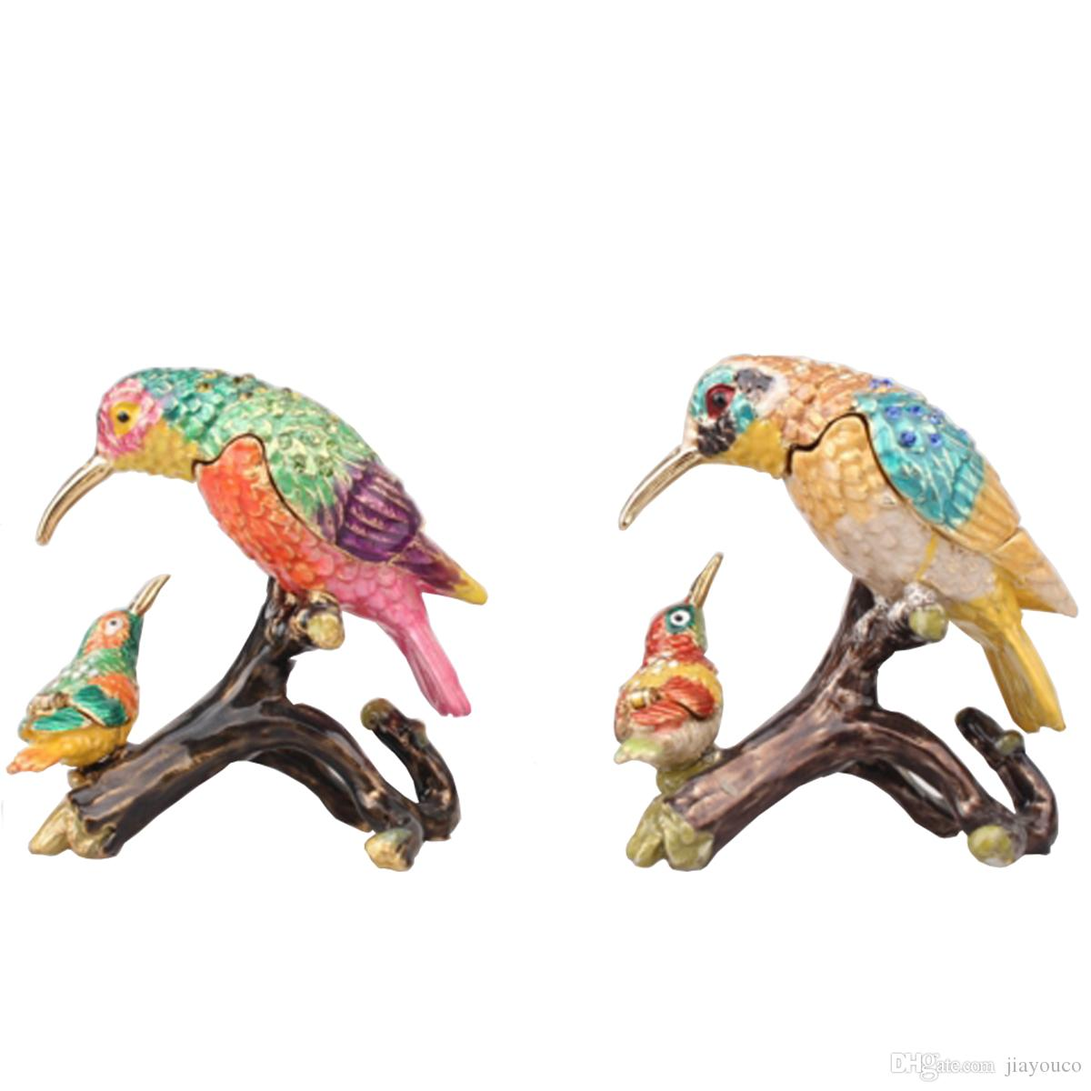 Faberge Bird Bejeweled Trinket Box Crystal Jewelry Box voor Ring Metal Home Decor Verjaardagscadeau Collectibles Harned Keepsake Box