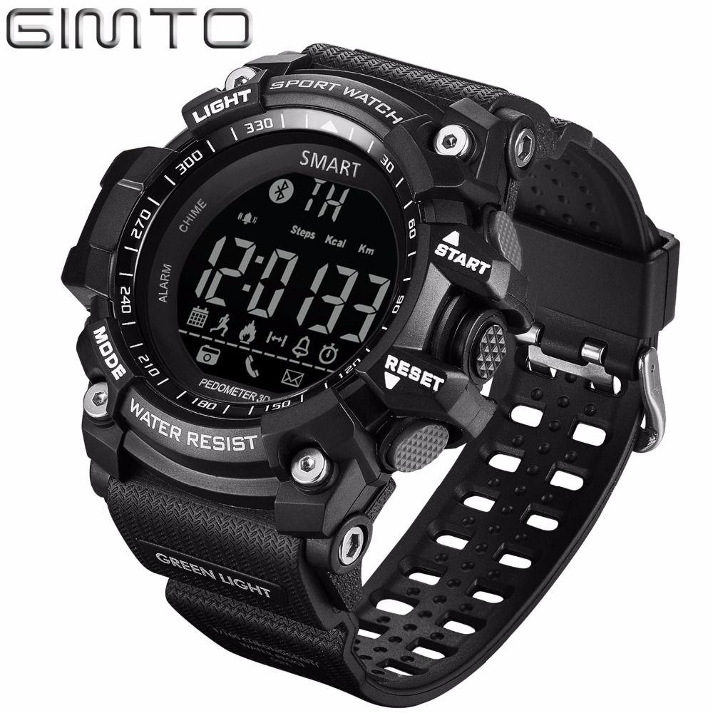 X GIMTO Marque Numérique Hommes Sport Montre Bluetooth Podomètre Intelligent Shock Diving Chronomètre Étanche Mâle Électronique Montres
