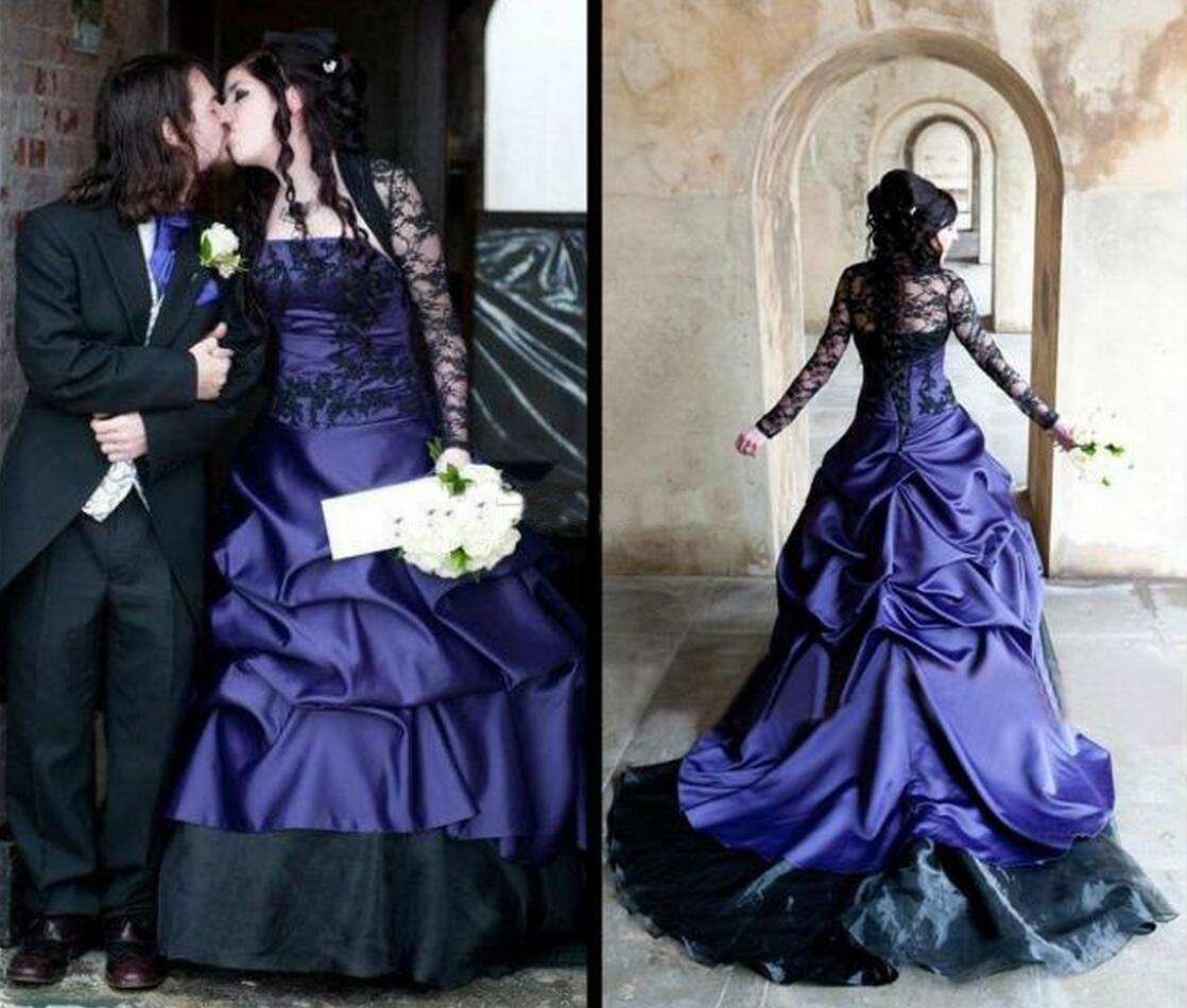 2018ウェディングドレス黒と紫のブライダルガウン長袖ヴィンテージゴシックマスカレイドラインハロウィーンのウェディングドレスvestido de Novia