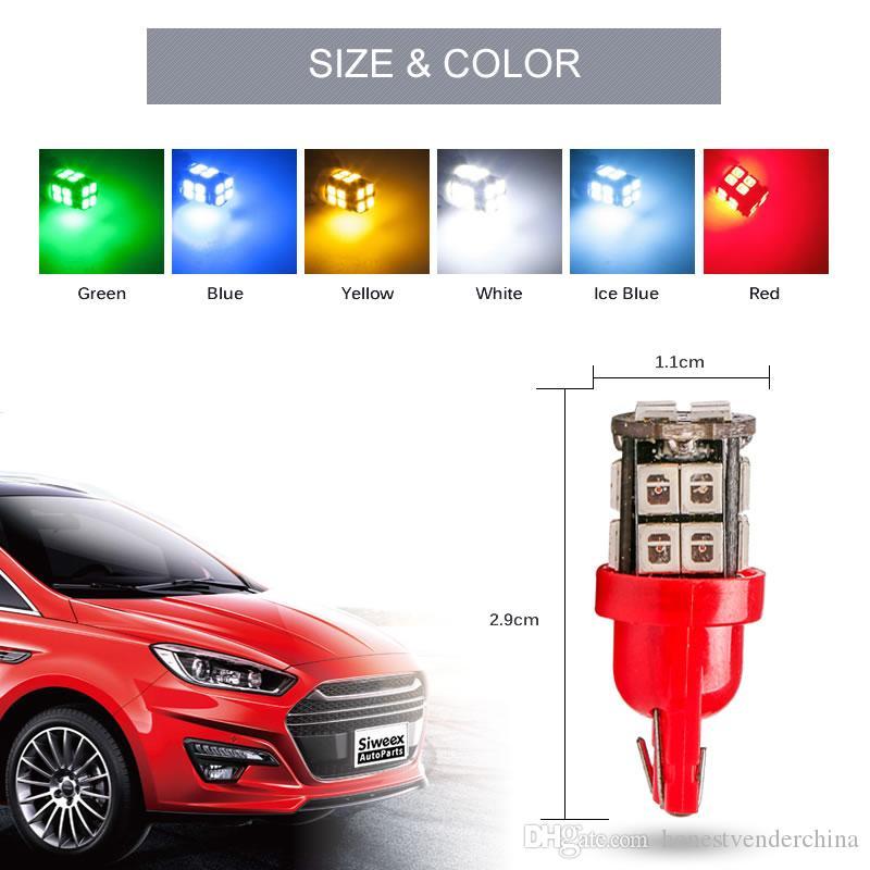 10 x W5W T10 автомобильные светодиодные лампы 20smd 2835 168 194 боковые габаритные огни карта сигнала поворота лампы белый / синий / желтый (янтарный)/зеленый / лед синий / красный