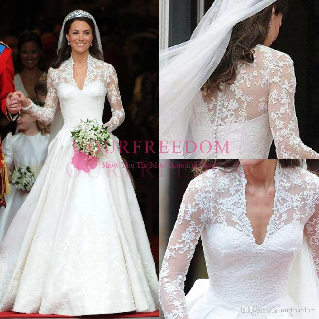 discount princess william and kate wedding dresses 2019 retro v neck long  sleeve lace a line royal church bridal gown custom made back cover button
