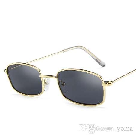 Небольшой ретро оттенки прямоугольник солнцезащитные очки мужчины Красный объектив желтый 2018 металлический каркас прозрачные линзы солнцезащитные очки для женщин унисекс UV400