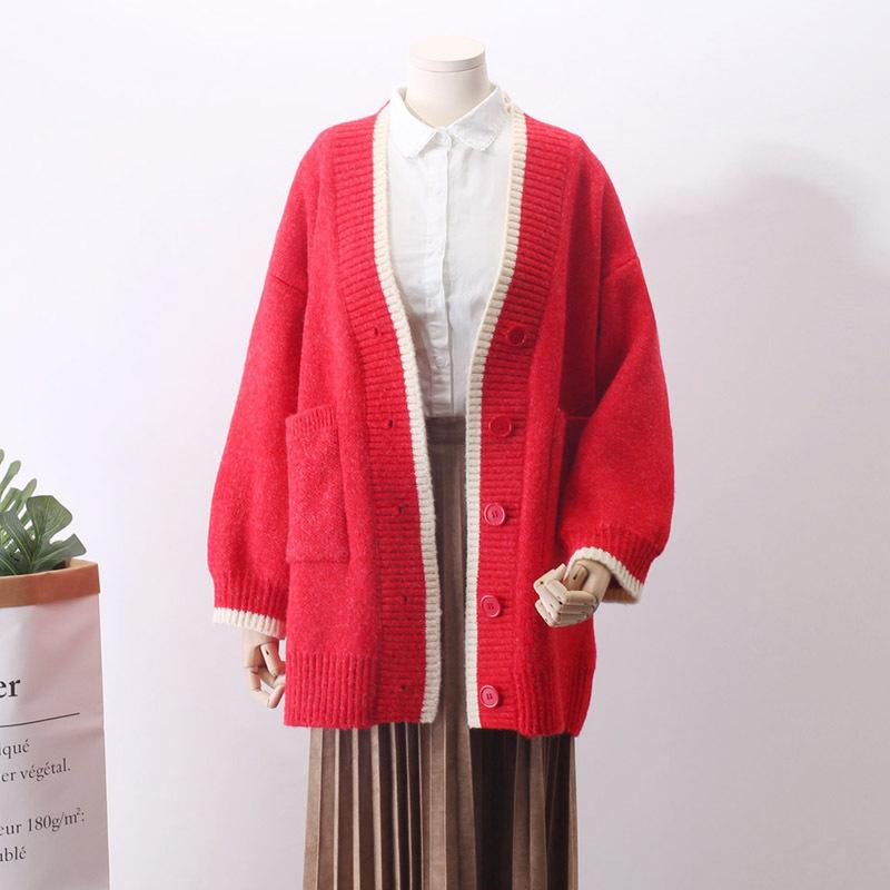 2018 Cotton Promotion Women Sweaters And Poncho Spring New Pattern Knitting Long Fund Sweater Cardigan Woman Loose Coat Korean
