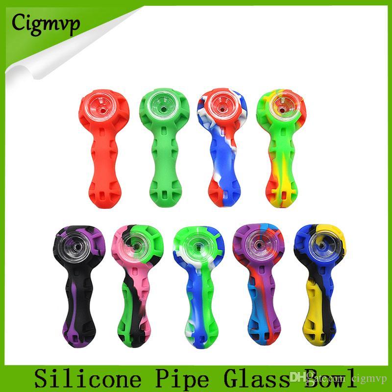Tubo del tubo del fumo del silicone Tubo del cucchiaio del tubo del narghilè Bongs Bongs Multi Colori Stifoni dell'olio di silicone con lo strumento VS Twisty Glass Tube Blunt