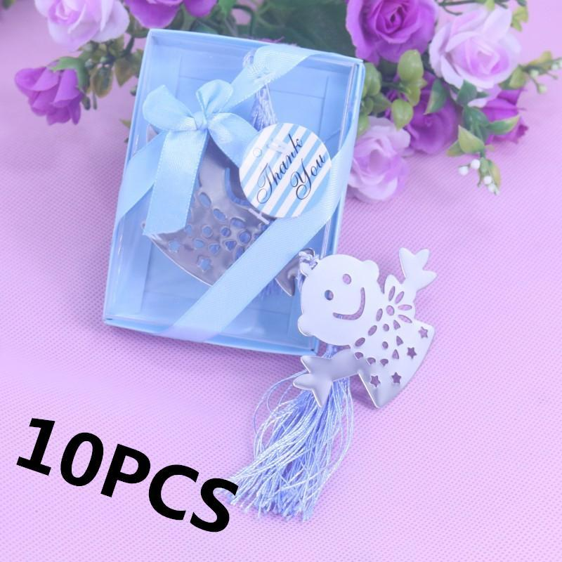 10 UNIDS Silver Boy and Girl Bookmark Boxed Party Favor Regalo Baby Shower Sagrada Comunión Sorteo Regalos Favores de boda para invitados