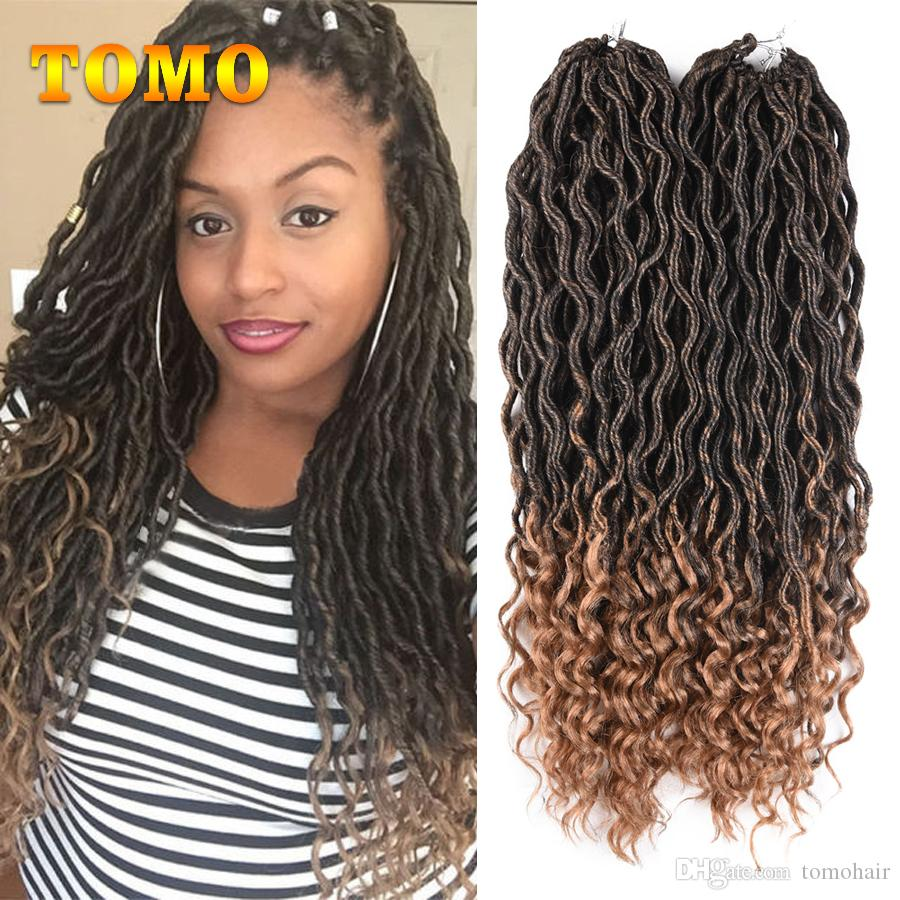 2020 Tomo Crochet Braids 18inch Medium Length Goddess Faux Locs Curly Hair Bluk Kanekalon Synthetic Dreadlocks Ombre Hair Extensions 24roots Pack From Tomohair 10 39 Dhgate Com