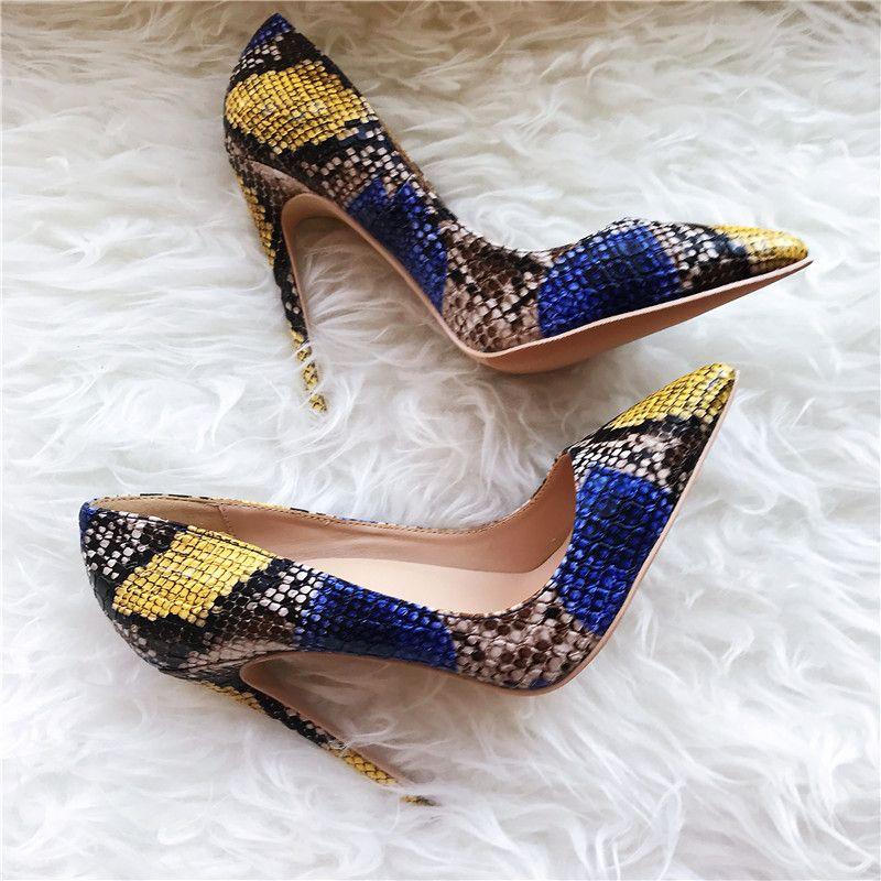 Ücretsiz kargo moda kadın pompaları mavi sarı yılan rugan nokta ayak yüksek topuklu ayakkabılar Stiletto topuklu pompalar gerçek fotoğraf marka yeni
