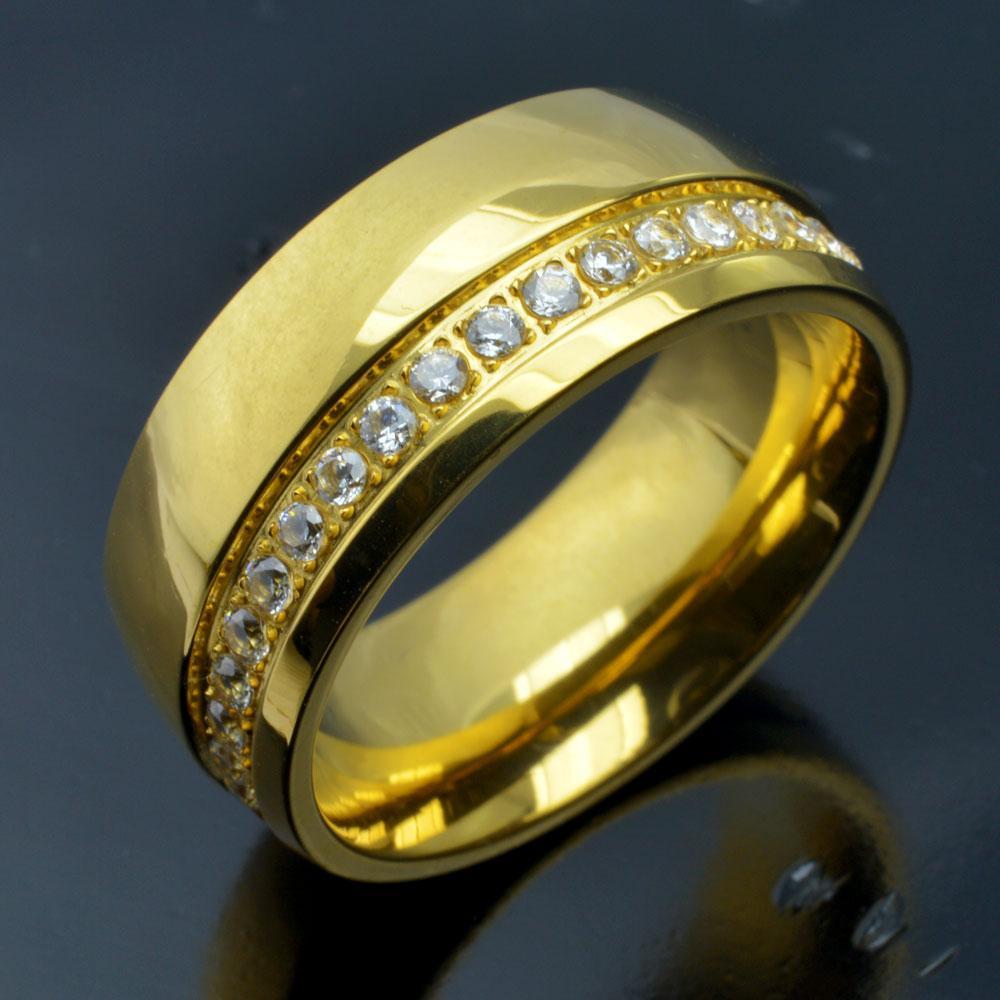 de acero inoxidable de tono r250MA hombre 18K Oro sz8-15 anillo de compromiso de la boda