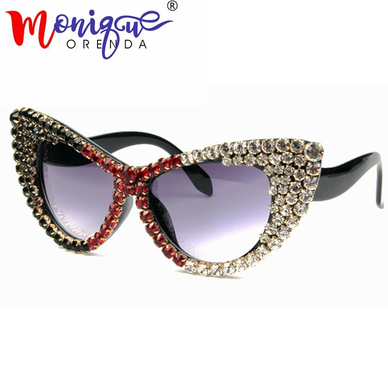 2018 Oversize Cat Eye Sunglasses Mujeres Diseñador de la marca de Lujo gradiente de diamantes Gafas de Sol Para Las Señoras Oculos De Sol Feminino