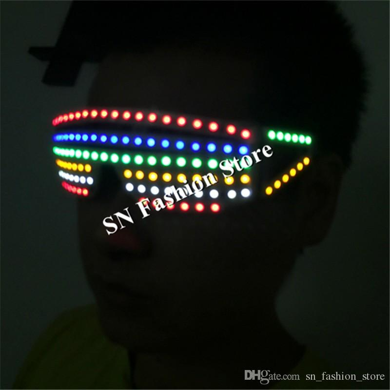 T25 Colorful led light glasses ballroom dance stage costumes dj disco dancer wears party cosplay costumes led clothes suit props performance