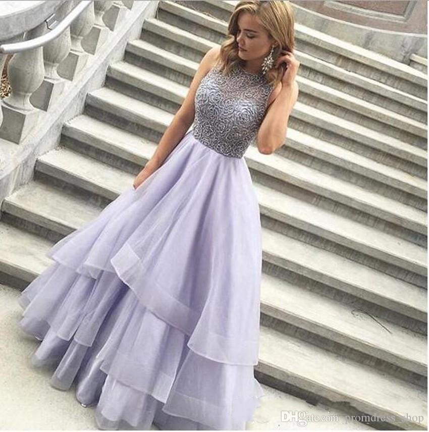 2020 Fashion Tiered A Line Prom Dresses Charming Sleeveless Organza Less Lavender Elegant Evening Dresses Formal Gown