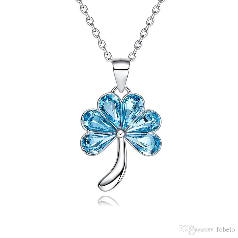 TJP Fashion Flowers And Plants Clavicle Chain Blue Austria Crystal 925 Sterling Silver Necklace Women Jewelry Boho Vintage